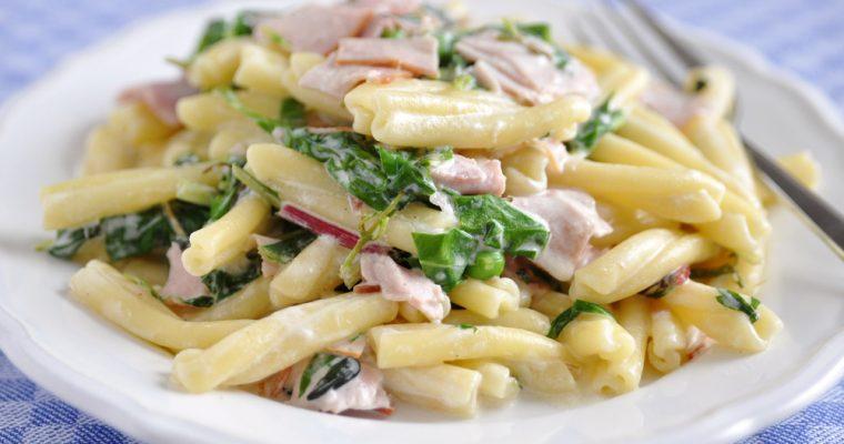 Pasta met spinazie en spek